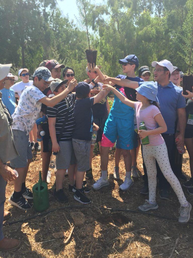 Groupe d'enfants qui tiennent une plante