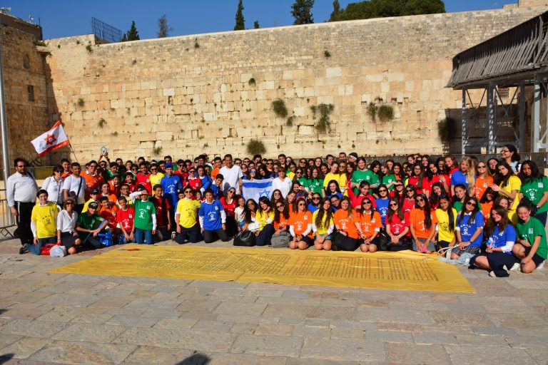 Groupe d'enfants devant le Mur des lamentations à Jérusalem